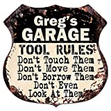 GREG'S GARAGE TOOL RULES Rustic Chic Sign Vintage Retro 11.5''x 11.5'' Shield Metal Plate Store Home man cave Decor Funny Gift