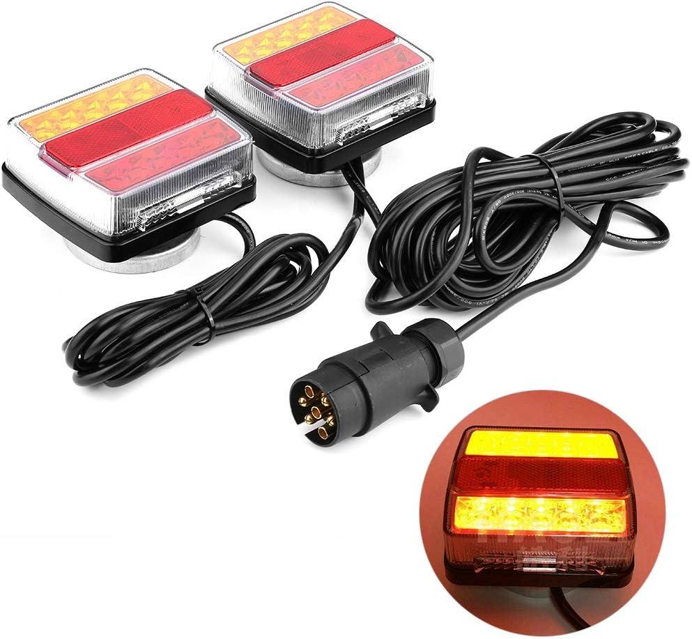 Luces Traseras Remolque 2 Piezas 12V, Lluminación del Remolque con Cableado Magnético Cable 7.5m para Camión Van Caravana