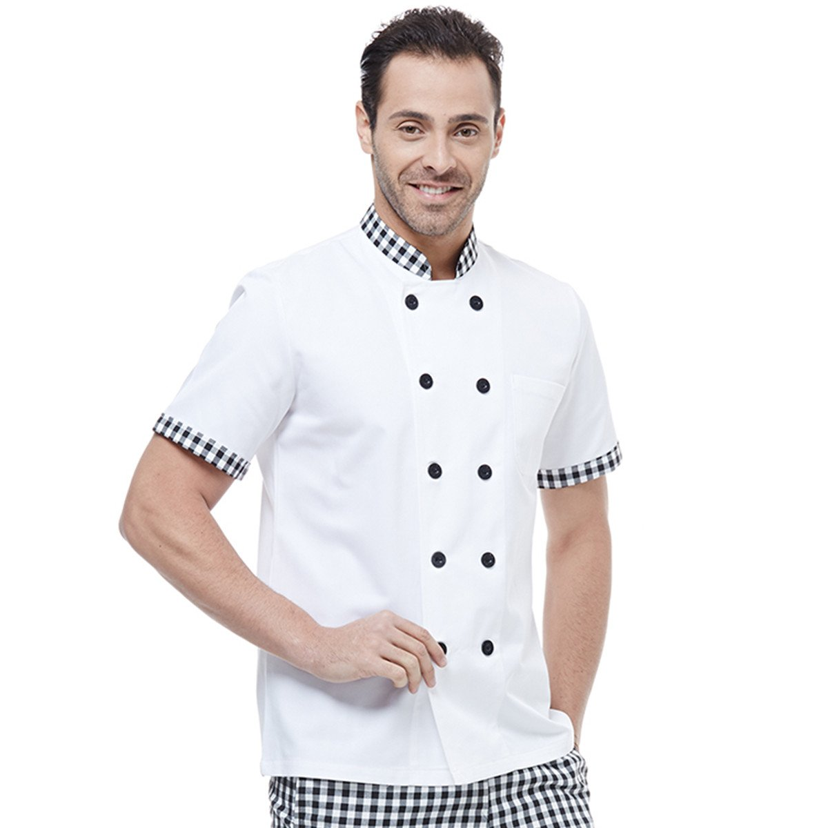 XINFU Chef's Short Sleeved Summer Hotel Western Restaurant Chef Jacket Cake Shop Chef Coat