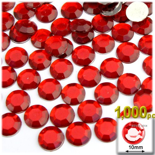The Crafts Outlet 1000-Piece Flat Back Round Rhinestones, 10mm, Ruby Red ()