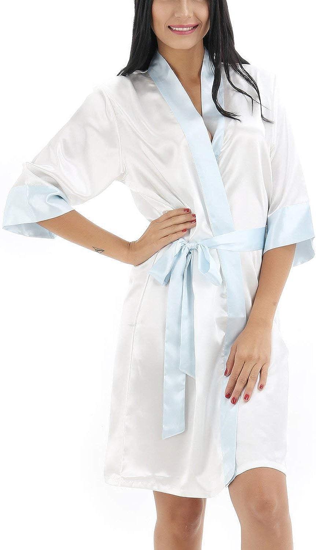 Bata De Mujer Kimono Colores Lisos Satén Vintage Recorte Noche Calentamiento Albornoz Albornoz Kimono Camisón Camisa De Dormir Bata De Seda Pijamas Sueltos: Amazon.es: Ropa y accesorios