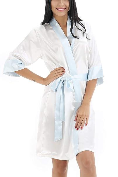Bata De Mujer Kimono Lisos Noche Recorte Especial Estilo Satén Colores Calentamiento Albornoz Kimono Camisón Camisa De Dormir Bata De Seda Pijamas Sueltos: ...