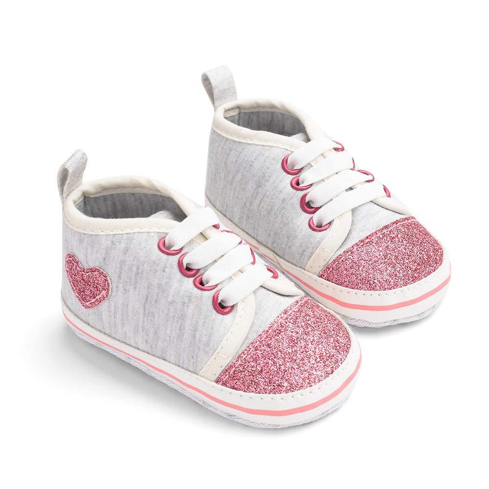 Jimmackey Neonato Unisex Paillettes Cuore Stampa Scarpe Bambina Sneaker Suola Morbida Stivali Prima Camminatore