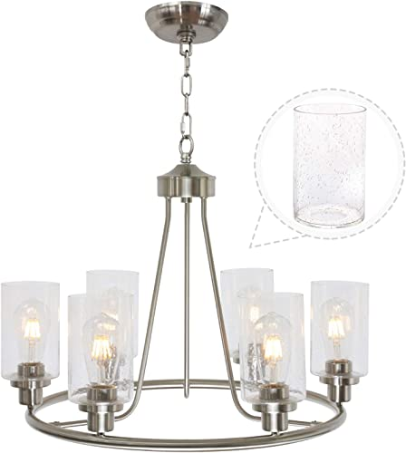 TODOLUZ 6 Lights Farmhouse Chandelier with Seedy Glass Shades Brushed Nickel Finish, Ceiling Light Fixture for Dining Living Room Kitchen Island Bedroom