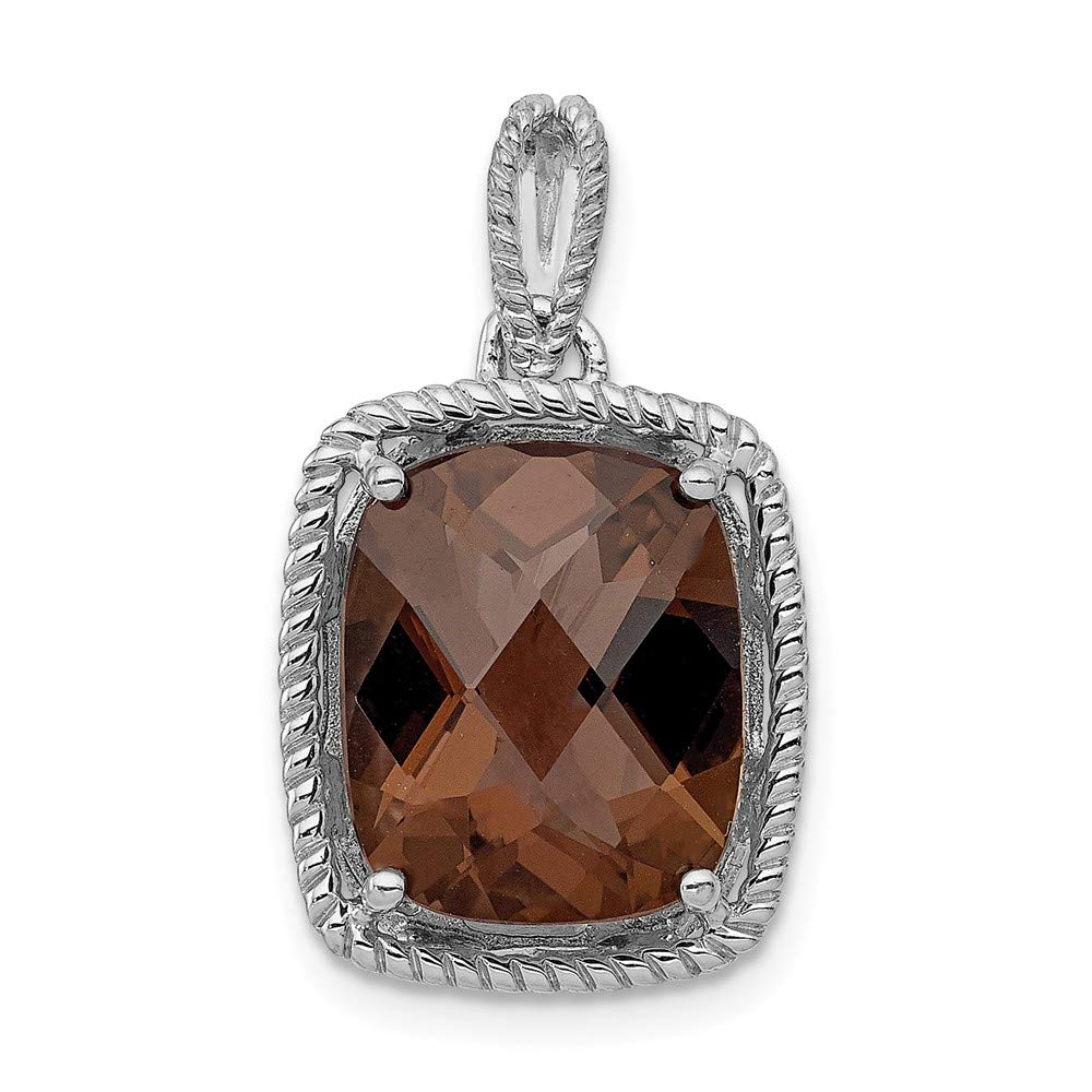 Sterling Silver Jewelry Pendants /& Charms Solid 13 mm 22 mm Smoky Quartz Pendant