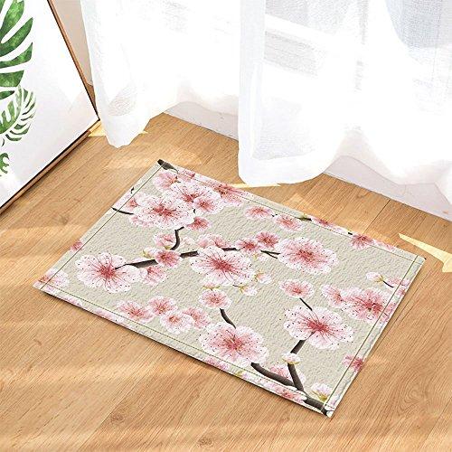 Flower Decors Watercolor Japanese Cherry Tree Blossom Bath Rugs Non-Slip Doormat Floor Entryways Indoor Front Door Mat Kids Bath Mat 15.7x23.6in Bathroom Accessories