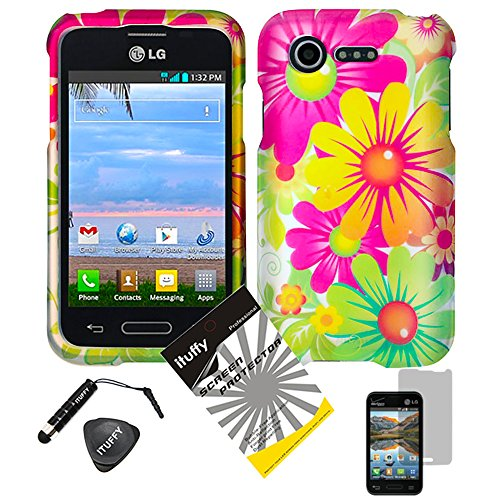 4 items Combo: ITUFFY (TM) LCD Screen Protector Film + Mini Stylus Pen + Case Opener + Yellow Pink Green Colorful Daisy Sun Flower Design Rubberized Snap on Hard Shell Cover Faceplate Skin Phone Case for Verizon LG Optimus Zone2 VS415PP / LG Optimus Fuel L34C (Yellow Sunflower) ()