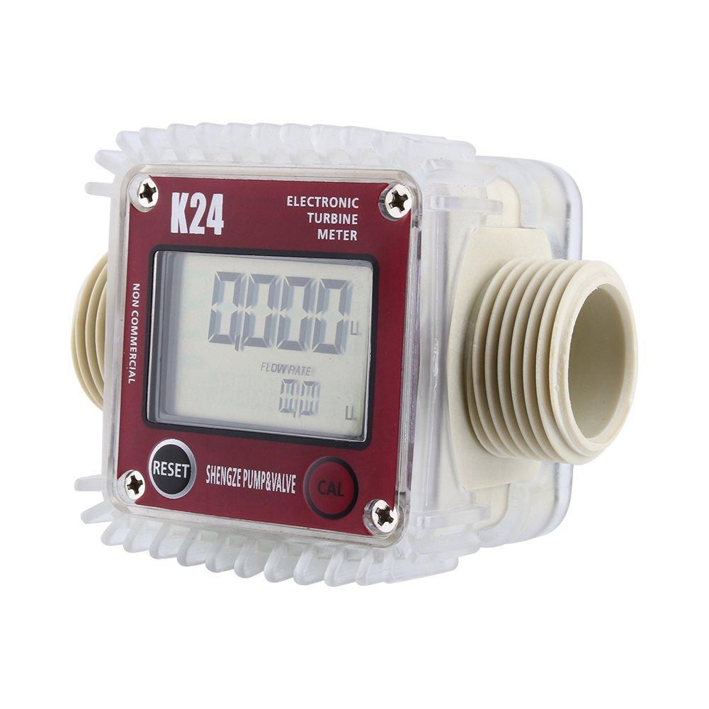 K24 LCD Turbine Digital Diesel Fuel Flow Meter Anti-corrosion for Diesel Fuel Oil Urea Chemical Liquid Water