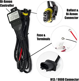 amazon com zeez hid h13 9008 relay harness for bi xenon hi lo xtremevision h13 9008 hi lo bi xenon controller hid battery relay wiring harness