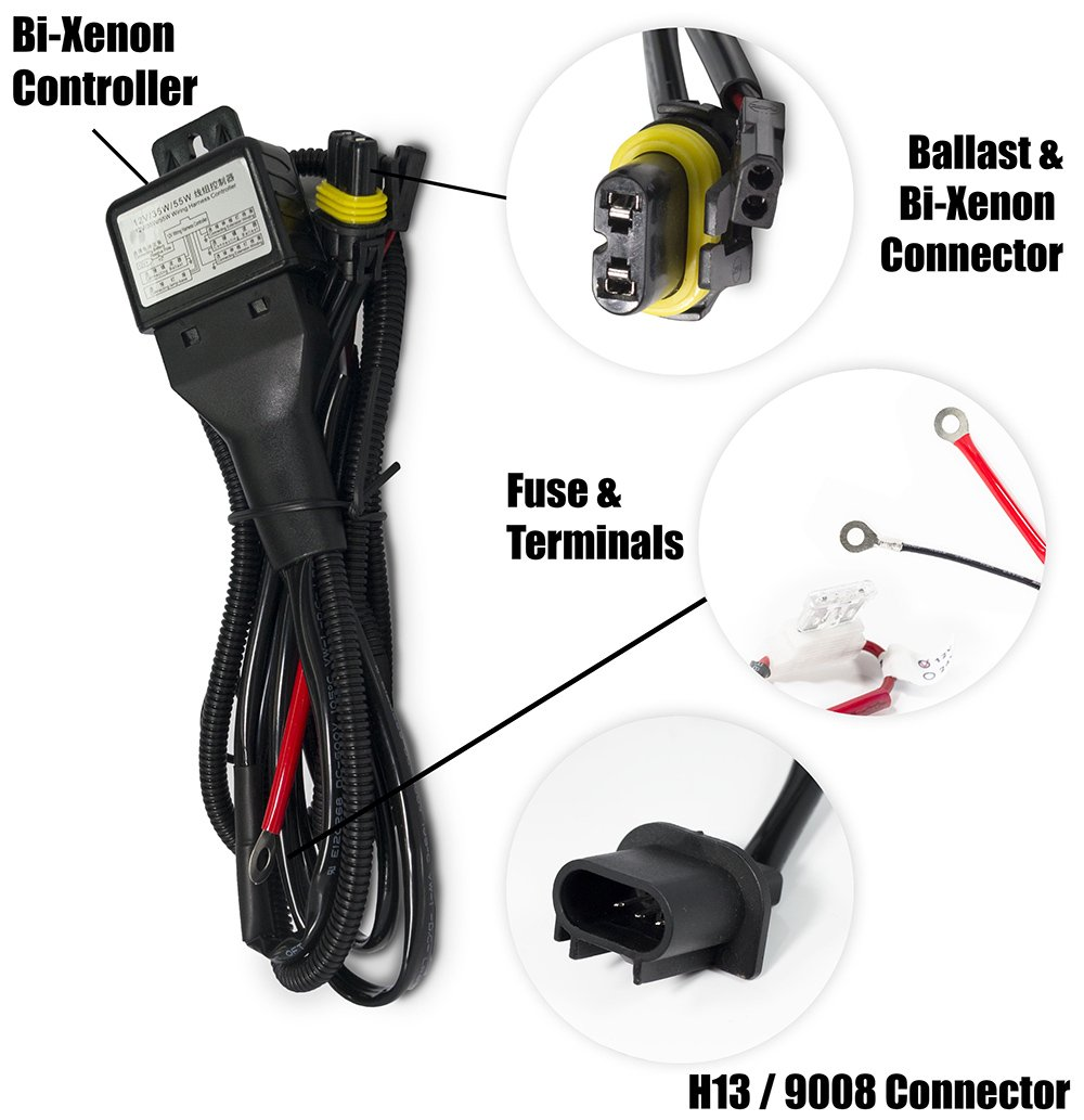 Xtremevision H13 9008 Hi Lo Bi Xenon Controller Hid Wiring Harness Battery Relay 12v 35w 55w Automotive