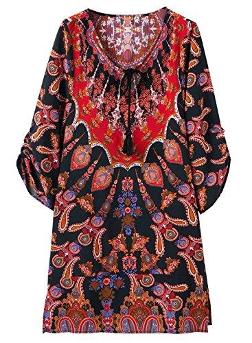 Futurino Women's Half Sleeve Bohemian Vintage Floral Printed Peasant Blouse Mini Shift Dress Shirt (6, Paisley Pattern) - Mini Paisley Pattern