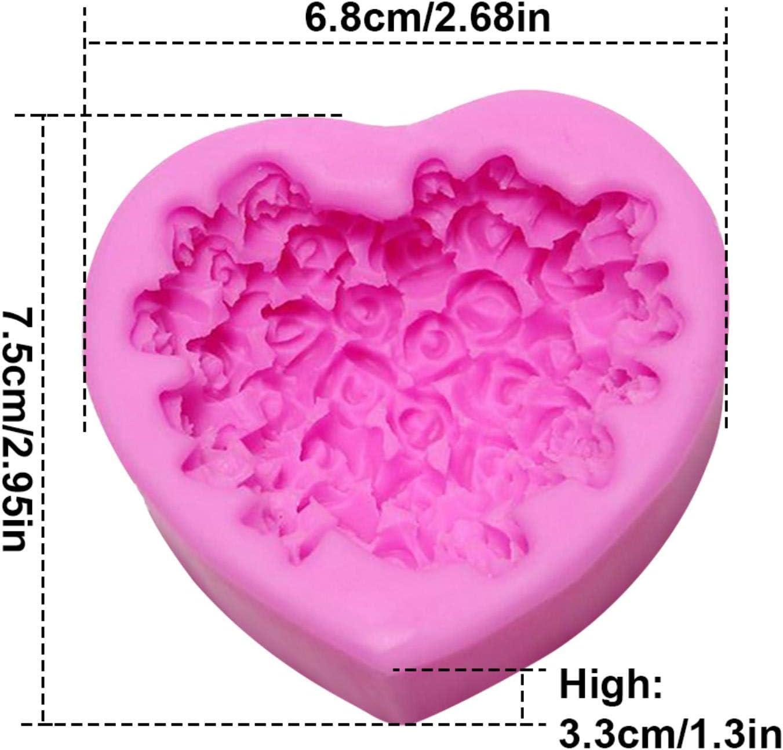 OSALAD Cuore Bello del Silicone Muffa del Sapone della Rosa del Fiore DIY Modulo Fondente Sapone Fare 3D A Mano A Mano Che Decora Muffa Goccia Glue Mold