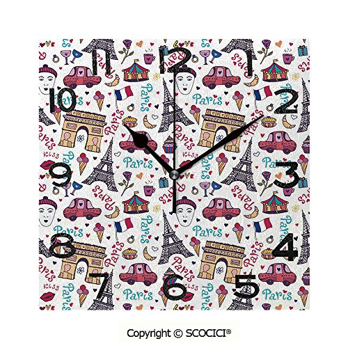 - SCOCICI 8 Inch Square Face Silent Wall Clock Triumphal Arch Famous Tower and Many Other Symbols of The City of Love Rose Decorative Unique Contemporary Home and Office Decor