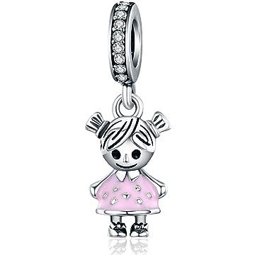db08e6297 Little Girl Charm Pink Enamel CZ Dangle Charms fit Pandora Bracelet  Necklaces Jewelry Birthday Gifts