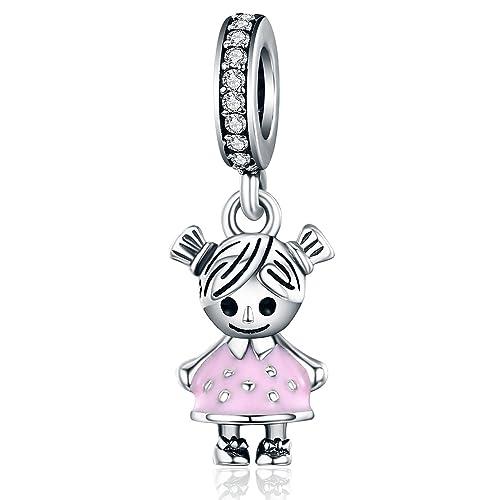 YOUFENG Jewellery Colgante para niña, Esmalte Rosa, con Colgantes, para Pulsera de Cadena de Serpiente, joyería, Regalo de cumpleaños