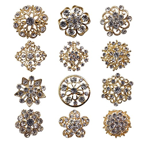(L'VOW 12px Silver Gold Plated Crystal Brooches Flower Floriated Brooch Collar Pin Rhinestone Corsage Bouquet Décor (Y- Gold))