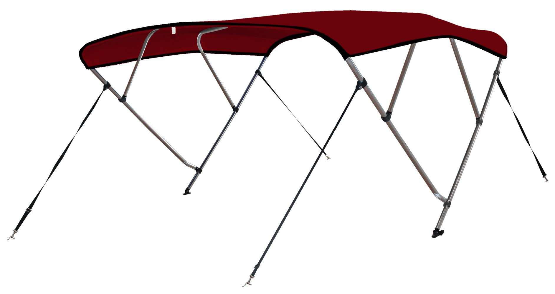 Leader Accessories 4 Bow Bimini Tops Boat Cover 4 Straps for Front and Rear Includes Hardwares with 1 Inch Aluminum Frame (Burgundy, 8'L x 54'' H x 54''-60'' W) by Leader Accessories