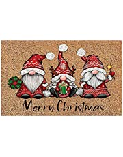 Christmas Gnome Dwarf Door Mat Decorations, Merry Christmas Welcome Sign Rugs for Bedroom Home Christmas Decor Ornaments, Santa Claus Door Mat for Home, Entrance, Floor