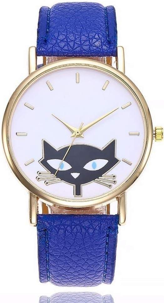 Relojes Reloj Watches Relojes De Pulsera Moda Lovely Cat Watch Mujer Correa De Cuero Relojes De Cuarzo-Azul