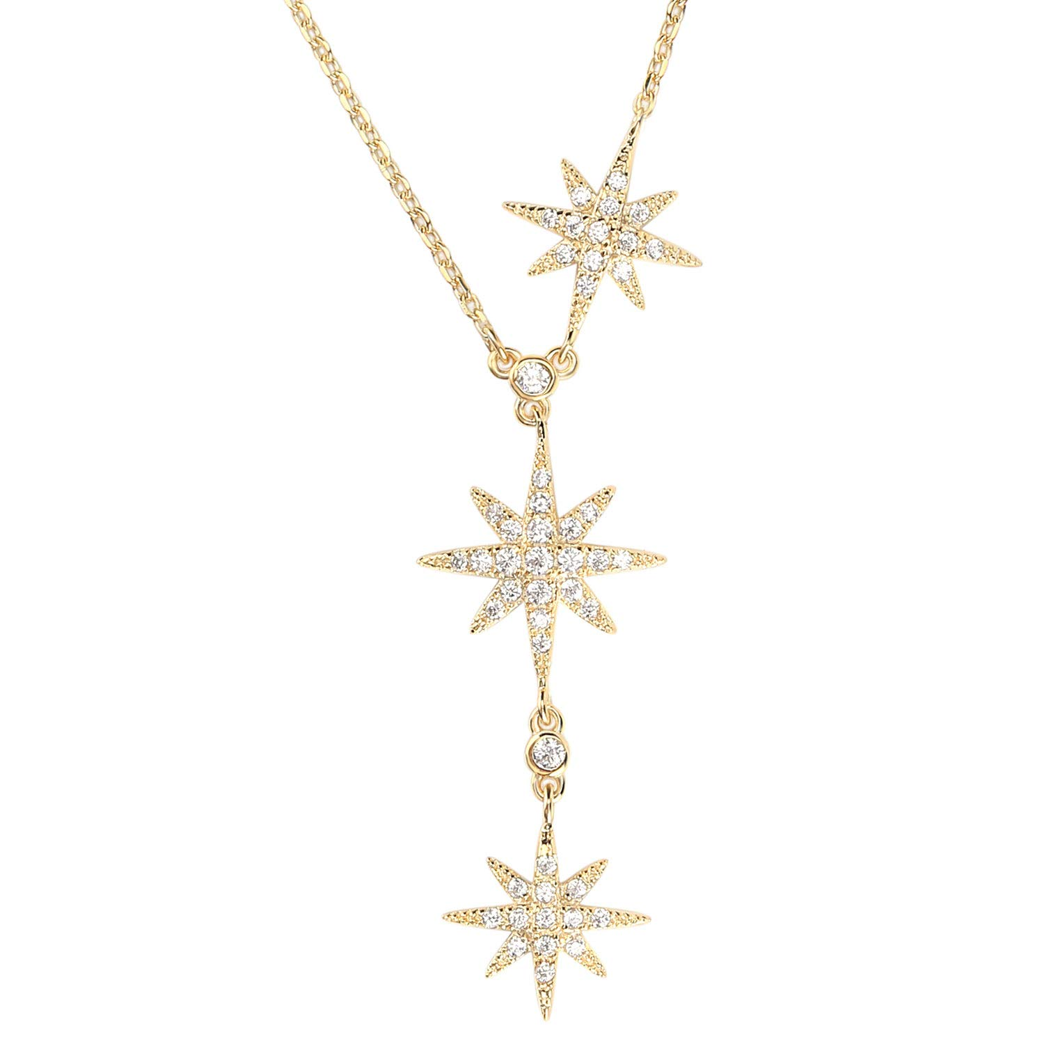 Lancharmed 925 Sterling Silver 3 Star Starburst Drop Pendant Y-Shaped Paved CZ Necklace for Women Girls Teens