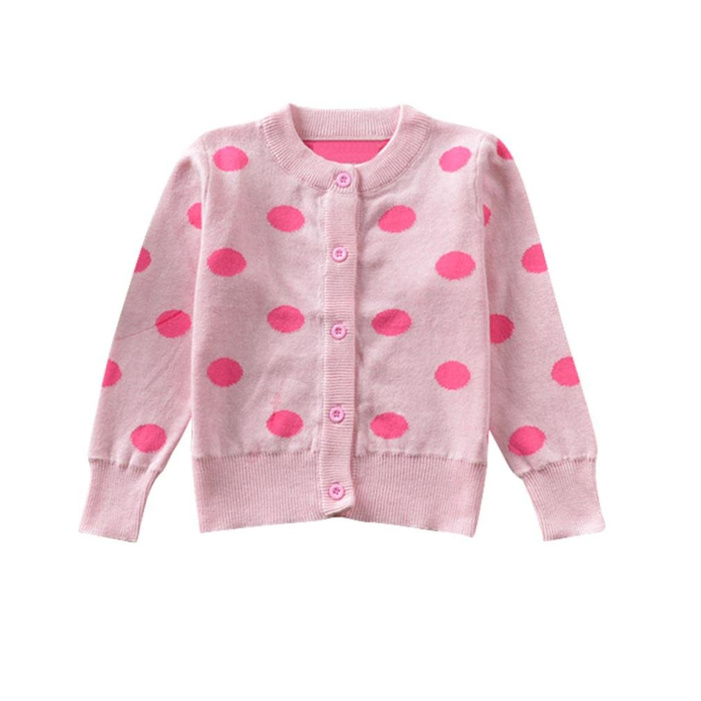 Voberry Kids Baby Baby Girls Warm Knitted Dot Print Coat Tops Outwear Cardigan Outfits Clothes Children's Soft Warm Sweater Coats