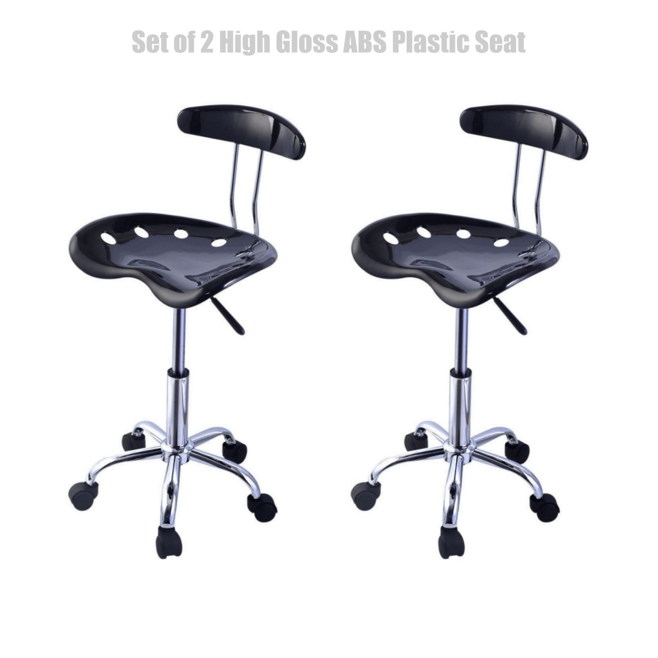 Modern Style Durable Molded ABS Plastic Seat Adjustable Bar Stools Swivel Drafting Dining Chair Solid Chrome Finish Base - Set of 2 Black #1477