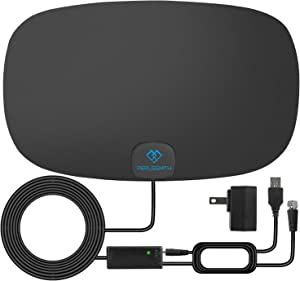 PERLESMITH TV Antenna - Indoor HD Antenna 70-110 Miles Long Range Reception Supports 4K 1080P - Digital Antenna for HDTV VHF UHF Freeview Channels with Signal Amplifier and 16.5ft Coaxial Cable