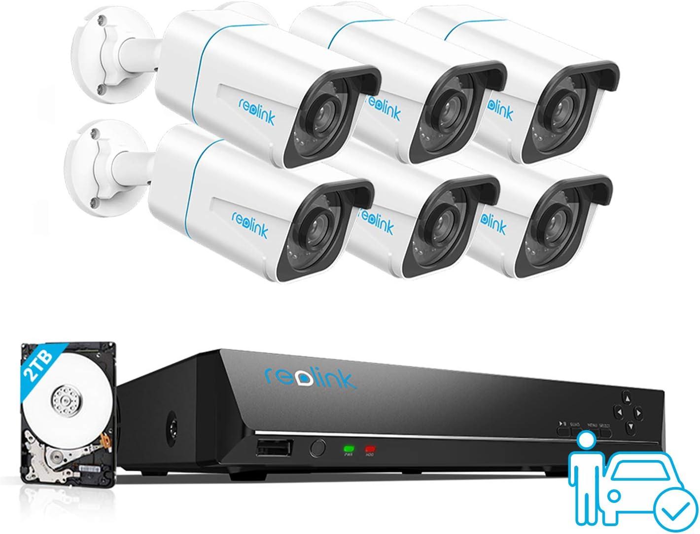 Reolink 4K Caméra de Surveillance Extérieure, Détection de Perosnne et Véhicule, Kit...