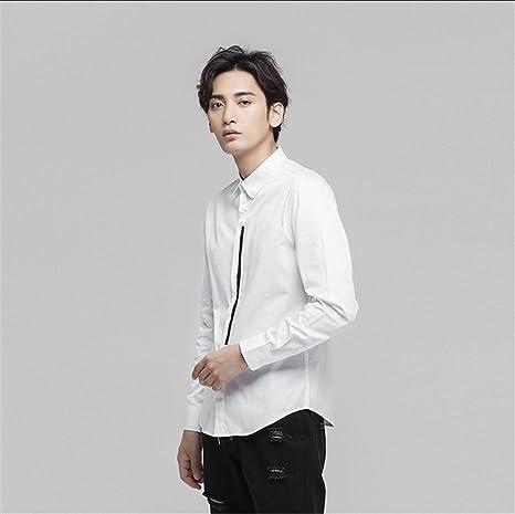 Moda Casual Hombre Camisa de Manga Larga, Camisa Blanca y Puro ...
