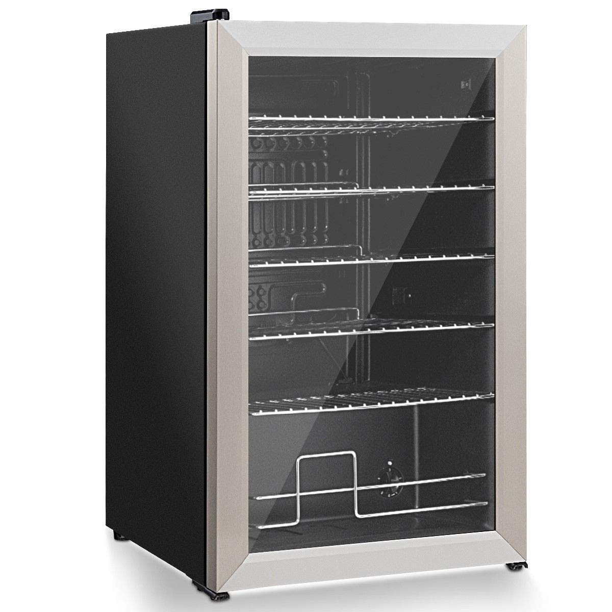 76 Can Beverage Refrigerator Cooler with Glass Door Perfect for Soda Beer or Wine by USA_BEST_SELLER