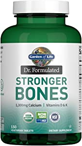 Garden of Life Dr. Formulated Stronger Bones, Organic Calcium Supplement with Vitamin D & Vitamin K for Bone Health, Bone Strength, Osteoporosis Supplements for Women & Men, 150 Vegetarian Tablets