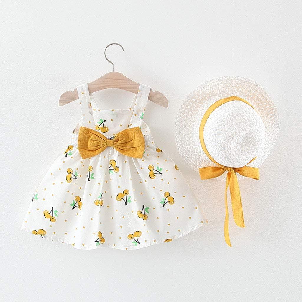 Hut Set Riou Kleinkind Baby Kinder M/ädchen Sommer Kleider /Ärmellos Blumen Print Prinzessinkleid Sommerkleid Bogen Outfits