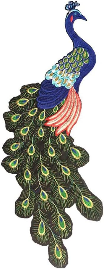 Cratone DIY Patch Sticker Peacock Sequin Clothing Applique Patches Embroidery Patches Gold Thread Embroidery Stickers Applique Clothing Stickers 34x12cm