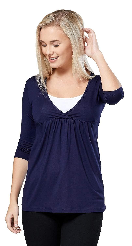 372p Happy Mama Womens Maternity Nursing Top Stretch 3//4 Sleeve Tunic 8-18