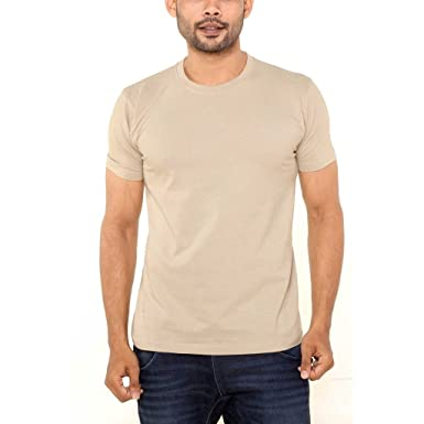 5d29c7328 FLEXIMAA Men's Round Neck Plain T-Shirt Biscuit Color: Amazon.in: Clothing  & Accessories