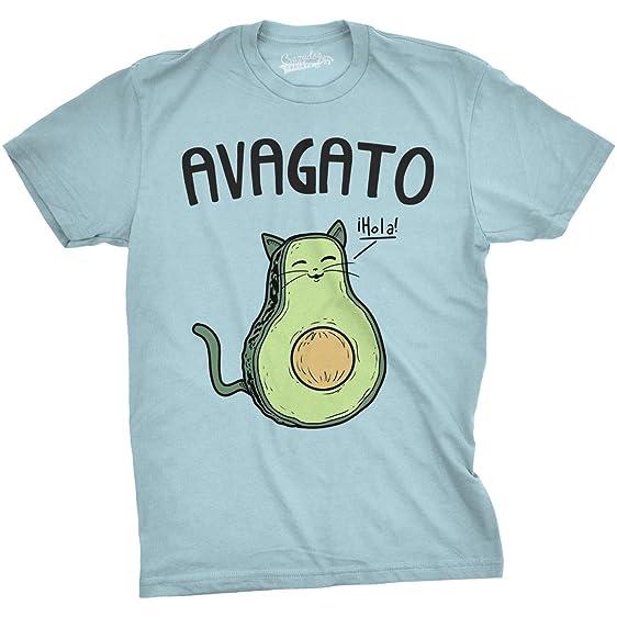Amazon.com: Mens Avagato Funny T Shirts Avocado Cat Tee Cute Cat ...