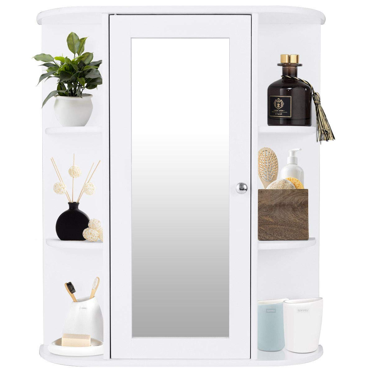 TANGKULA Bathroom Cabinet Single Door Wall Mount with Mirror Organizer Storage Cabinet(2 Tier Inner Shelves) by TANGKULA (Image #5)