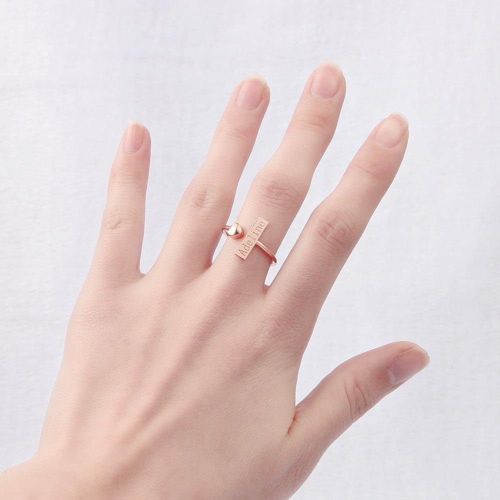 Amazon.com: AOCHEE Custom Name Ring Love Heart Adjustable Ring ...