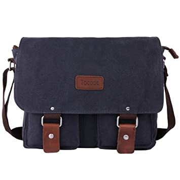 Amazon.com: Tocode Canvas Messenger Bag Shoulder Bag Laptop Bag ...