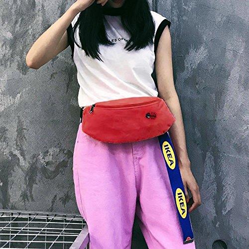 las de de de bolsa historieta rojo Bolsos de del Widewing la la Bolsos Fanny la pecho rojo hombro de cintura la lona de mujeres de correa Owq0txZR