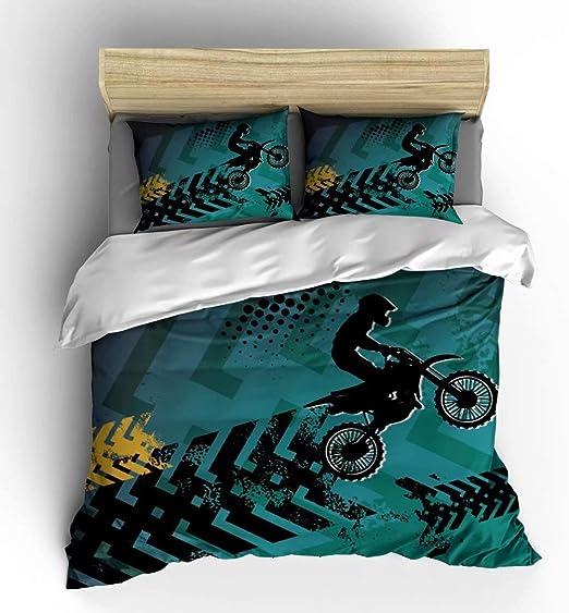 Single Motocross Bike Children Boys Bedding Quilt Duvet Cover Set 100/% Cotton