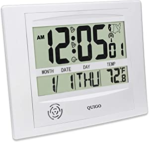 QUIGO Radio Controlled Atomic Wall/Desk Clock Date&Temperature,Battery Operated-Easy Reading Decorative Home and Office(Silver)