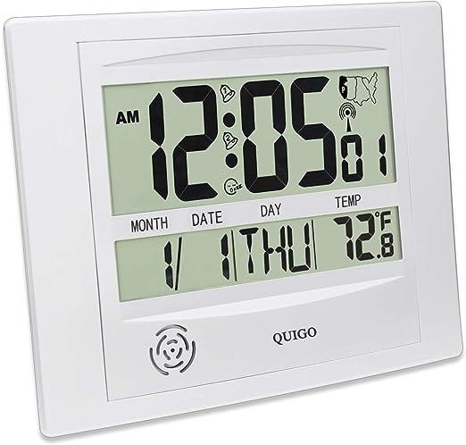 Digital Atomic Desk Clock Time Day Date Alarm In Out Temp Wireless Sensor Wall