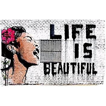 Amazon.com: Alonline Art - Life Is Beautiful Banksy VINYL STICKER ...