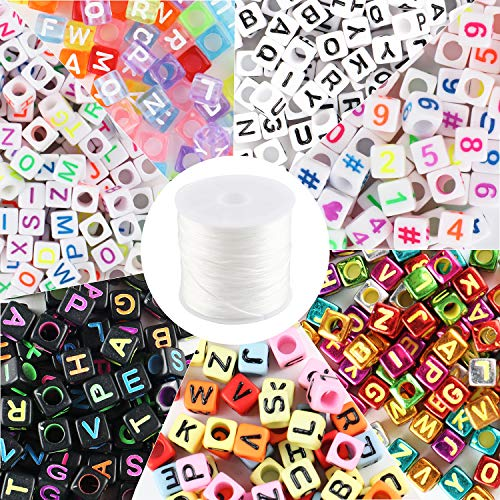 NEWITIN 1000 Count 7 Style Color Acrylic Alphabet Letter Beads Number Beads with 1 Roll Elastic Crystal String Cord for Jewelry Making DIY Necklace Bracelet(6mm)