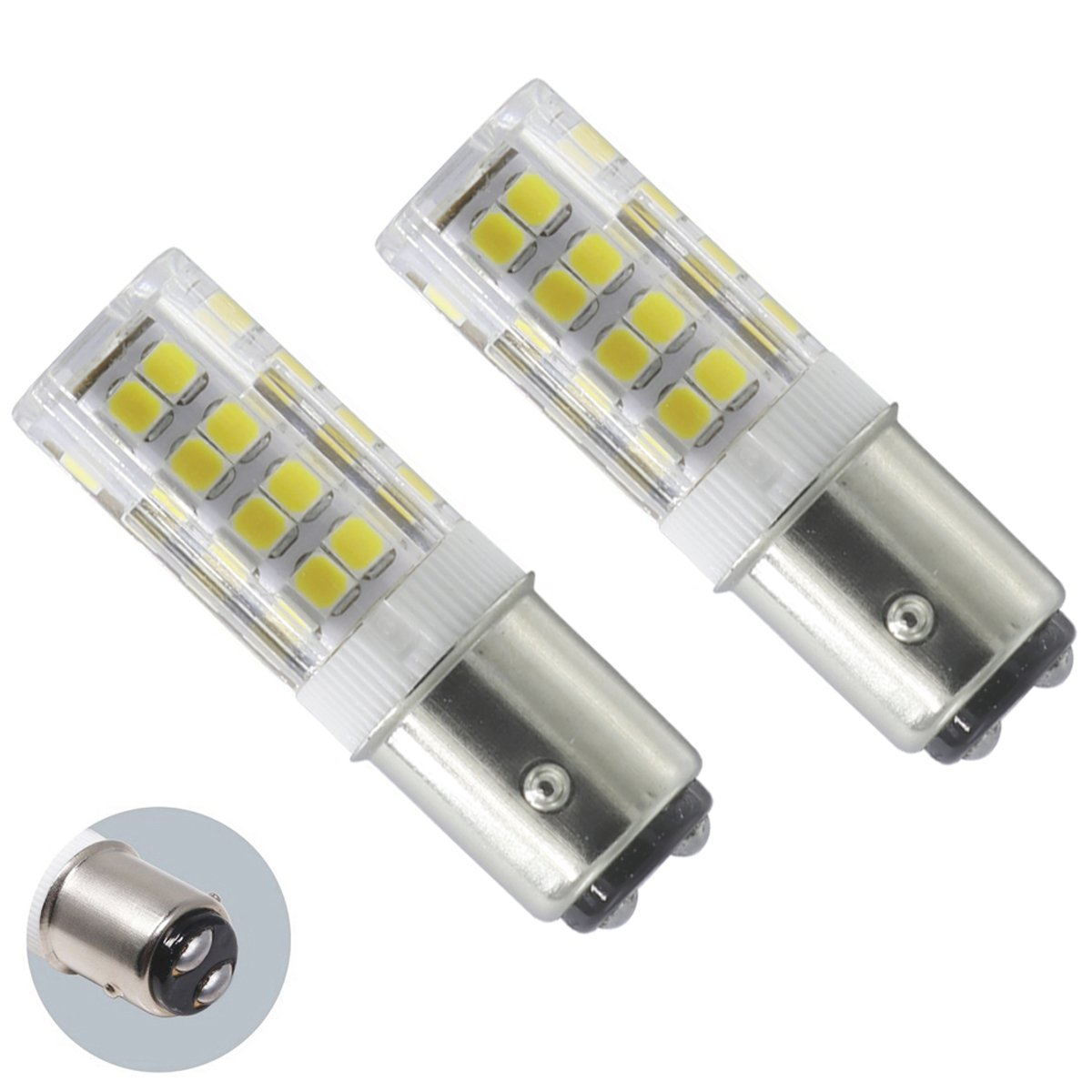 XRZT LED BA15D 120V Double Contact Bayonet Base, Dimmable 4.5W Daylight White (50W Halogen Bulbs Equivalent), T3/T4, Sewing Machine Lamp(2-pack)