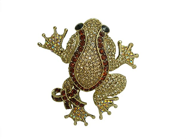 1940s Costume Jewelry: Necklaces, Earrings, Brooch, Bracelets TTjewelry New Unique Black Eyed Frog Rhinestone Crystal Brooch Pin Vintage Animal Jewelry $15.99 AT vintagedancer.com