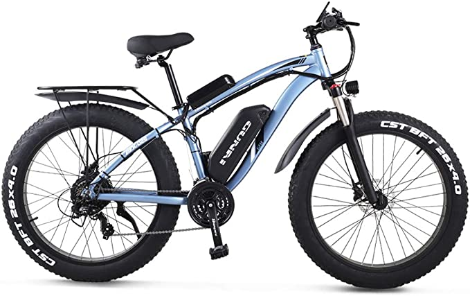 "GUNAI Electric Off-road Bikes Fat Bike 26"" 4.0 Tire E-Bike BAFANG 1000w 48V Electric Mountain Bike with Rear Seat"