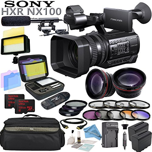 Sony HXR-NX100 w/ Reality TV Bundle: Includes Shotgun Mic, HD Macro Fisheye & Telephoto Lenses, A-Hz Power 160 LED Video Light, SDXC Memory Cards, 3x Battery Packs W/ Charger and more... by eDigital USA