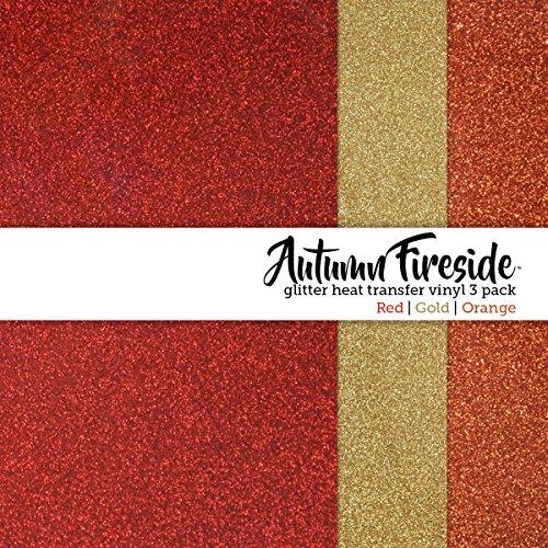 Glamorous Glitter Autumn Fireside Fall Themed Heat-Transfer Vinyl Multi-Pack 3 Sheets 10